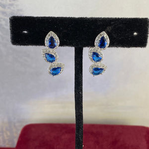 Gem Emporium Jewelry - Sapphire and CZ's Set in 925 Silver Post Earrings